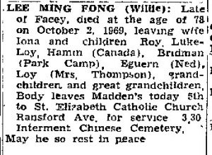 Obituary for Rohan's paternal grandfather who migrated from China to Jamaica during the revolution.